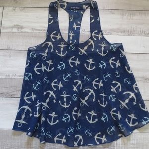 Ocean Drive Navy Anchor Print Skimmer Top, Size S